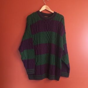 Brooks brothers cable knit striped sweater XL mens